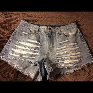 F21 light wash BF distress high waist shorts Sz 28