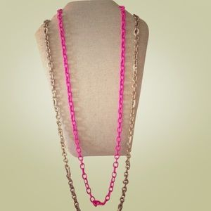 Set of 2 J.Crew link layering necklaces.