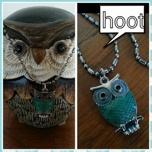 Jewelry - Nwt green enameled owl pendant  on 18 in chain
