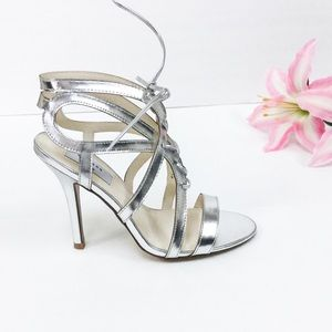 """Strappy Silver Sandal Lace Up Front 3.5"""" Heel Heig"""