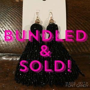 H&M Black Beaded Tassel Earrings