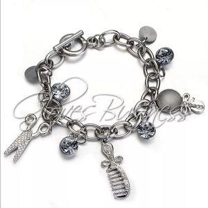 Silver scissors comb mirror rhinestone braceletNWT for sale