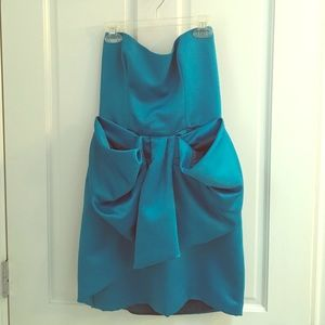 Foley + Corinna strapless turquoise dress