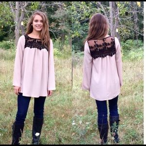 Taupe tunic with black lace
