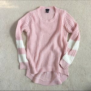 Pink sweater hi low