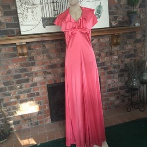 VINTAGE Halter Maxi Disco Dress
