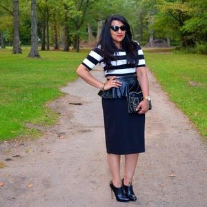 Black Peplum Pencil Skirt