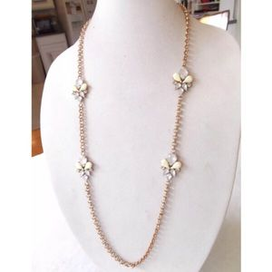 Gold flower pastel station long chain necklace