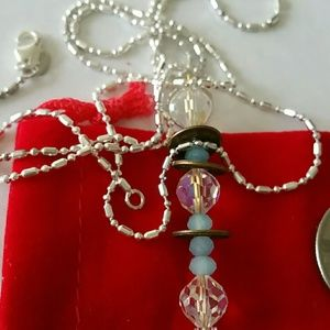 Jewelry - Lucky Chinese  coin crystal necklace 925 chain