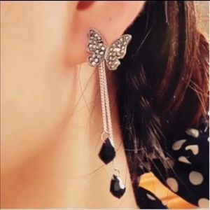 Jewelry - Black rhinestone tassel butterfly earrings
