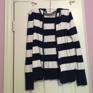 OLD NAVY striped cable knit hooded jacket