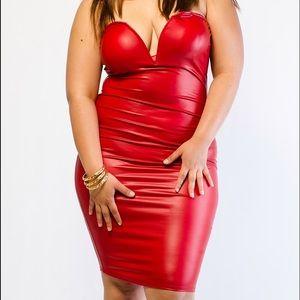 K+Glam Dresses | Plus Size Red Faux Leather Dress | Poshmark
