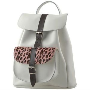 Grafea Handbags - Never worn GRAFEA white + leopard backpack