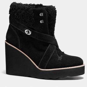 In BOX: COACH kenna boot in all black