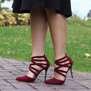 Anne Michelle Shoes - Wine Strappy Heels