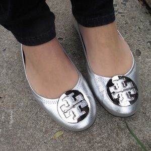 Tory Burch Shoes - Tory Birch Silver Reva Flats