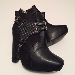 Sam Edelman Leather & Suede Black Booties