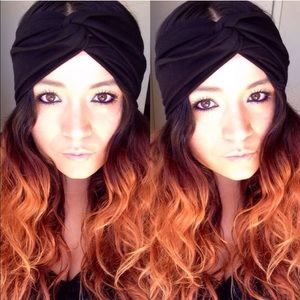 The faux turban in solid black