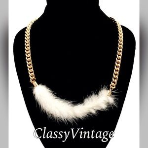 Boutique Jewelry - Faux white fur necklace.