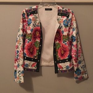 Floral Cropped Jacket with Fabric & Jewel Detail