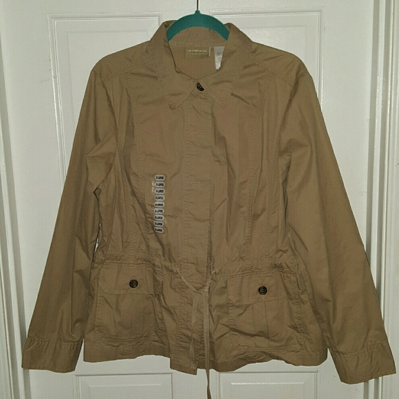7bbd0ecdcd9a8 Liz Claiborne Khaki Military Jacket