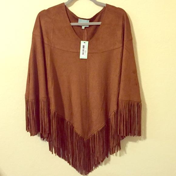 cb4245762 Caramel brown faux suede v-neck fringe poncho. M_568c59586d64bc51570b405a