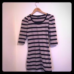 Forever 21 tan + black striped bodycon dress S