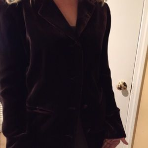 Jackets & Blazers - Chocolate brown crushed velvet jacket