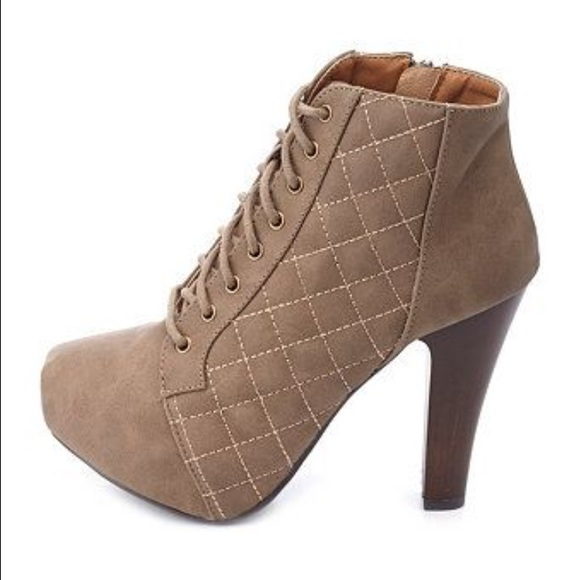b5aa14ac23bc Charlotte Russe Shoes - Quilted lace-up chunky heel bootie