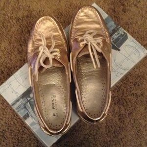 Authentic Sperry Top Sider Boat shoes in Rose Gold