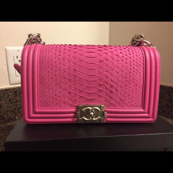 241920b16a5 CHANEL Bags   Hot Pink Matte Python Boy Medium Flap Bag   Poshmark