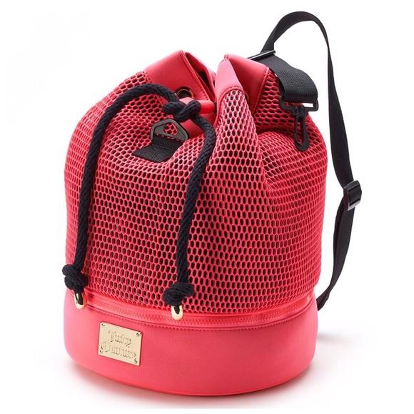 Juicy Couture Pink Mesh Sling Gym Bag Backpack