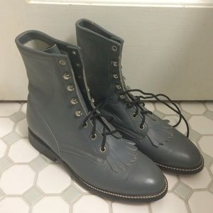 Shoes - Grey genuine leather lace-up boots