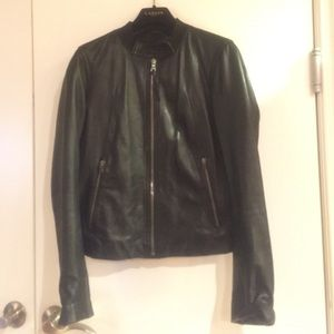 Gap Black Genuine Leather Biker Jacket