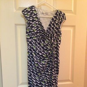Maggy London blue green and white dress