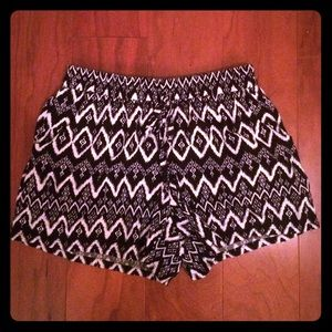 Black and white fabric shorts
