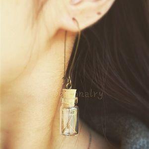 Jewelry - Real dandelion sends in mini glass jar earrings