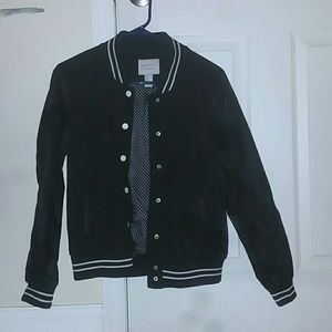 Black and white varsity style jacket