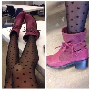 Burgundy Sweater Ankle Boots