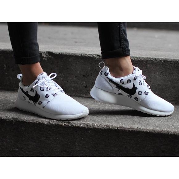 8a49cdb68974c Nike Shoes | White Leopard Print Roshe Run Sneakers | Poshmark