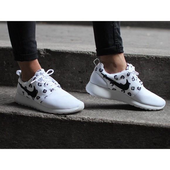 db427f4d Nike Shoes | White Leopard Print Roshe Run Sneakers | Poshmark
