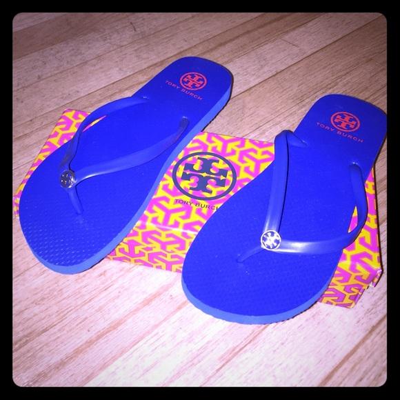 7a70f2a036c4 Tory Burch Blue Rubber Flip Flops