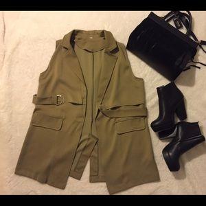 Jackets & Blazers - Olive green long vest