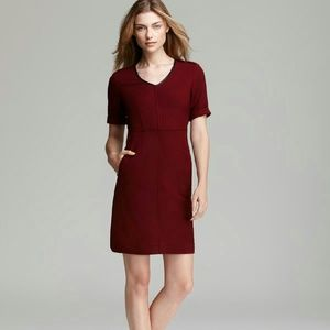 {burberry} wool dress with leather trim & epaulets
