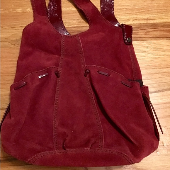 48% off Lucky Brand Handbags - Lucky Brand Maroon Suede Hobo Bag ...
