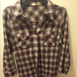Tops - Mid thigh length flannel shirt