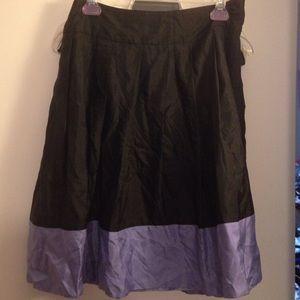 Express 100% Silk Black Lilac Midi Skirt 8