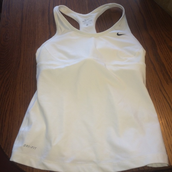 f3d69a4499d08 Nike dri fit tank built in bra. Running white. M_568d4e74bf6df516de002deb