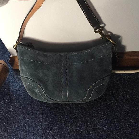 62% off Coach Handbags - Coach Navy Blue Suede Handbag from ...