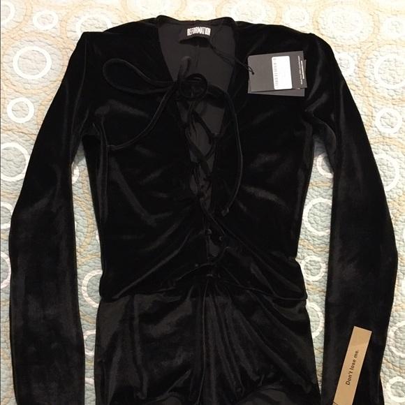 NWT Reformation Dark Brown Velvet Avalon Bodysuit 9a548206aef7